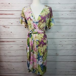 BCBG Floral Print Faux Wrap Belted Avery Dress